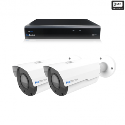 Beveiligingscamera set 2 x Bullet camera 8MP 4K UHD – Draadloos