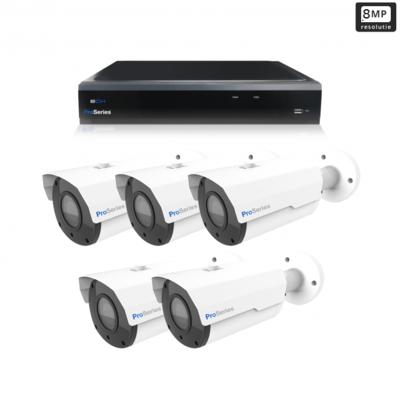 Beveiligingscamera set 5 x Bullet camera 8MP 4K UHD – Draadloos