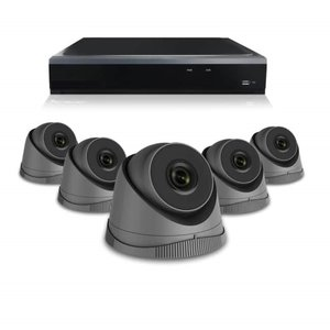 Camerabewaking systeem met 5 x 3MP HD  Dome camera – bekabeld antraciet