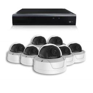 Basic series Camerabewaking set met 7 x 4MP HD Dome camera – bekabeld