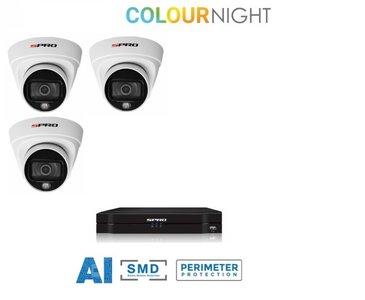 4 ch. recorder met SPRO 3 x 2MP IP-turret kleur nachtzicht camera
