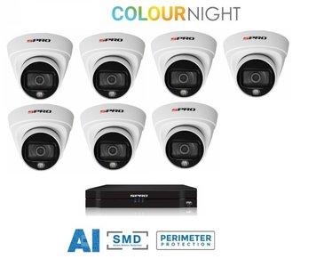 8 ch. recorder met SPRO 7 x 2MP IP-turret kleur nachtzicht camera