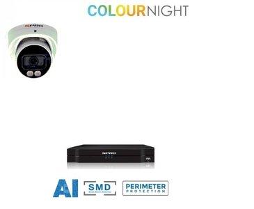 4 ch. recorder met SPRO 4MP IP-turret kleur nachtzicht camera
