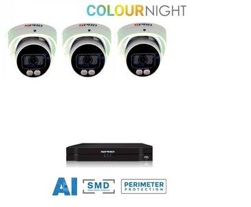 4 ch. recorder met SPRO 3x4MP IP-turret kleur nachtzicht camera